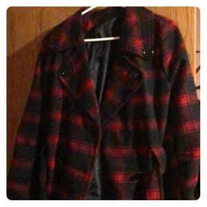Black and red checkered Peacoat